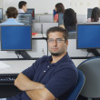Confident Male Student In Computer Lab — Stock Photo