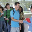 Male Student Shaking Hands With Teacher — Stock Photo