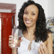 Happy Woman With Pill And Glass Of Water — Stock Photo