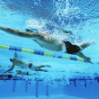 Foto Stock: Swimmers Swimming Together In Line During Race