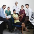 Happy Call Center Employees Smiling Together — Stock Photo