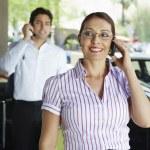 Happy Businesswoman On Call — Stock Photo
