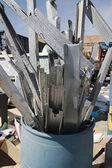 Metal Parts In Garbage Bin — Stock Photo