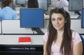 Beautiful Student In Computer Lab — Stock Photo