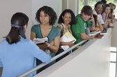 Teacher With Students At College Balcony — Stock Photo