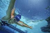 Swimmer Wearing U.S Swimsuit In Pool — Stock Photo