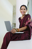 Indian Businesswoman Working On Laptop — Stock Photo