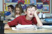 Sınıfta uyuyan çocuk — Stok fotoğraf