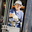 Man Driving A Forklift — Stock Photo