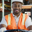 Confident Industrial Worker Driving Forklift At Workplace — Stock Photo #21970239