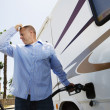 Man Refueling RV — Stock Photo