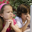 Little Kids Looking At A Laptop — Stock Photo