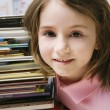 Little Girl With Stack Of Books — Stock Photo