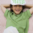 Boy Wearing Newsboy Cap — Stock Photo