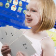 Girl With Alphabet Flash Cards — Stock Photo