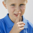 Boy With Finger On Lips — Stock Photo