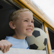 Boy On A School Bus — Stock Photo