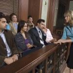 Female Attorney Addressing Jury — Stock Photo