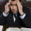 Tensed Male Advocate With Law Book — Stock Photo