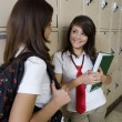Girls Chatting by School Lockers - Stock Photo