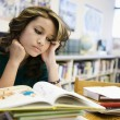 Student Studying In Library - Stock Photo
