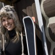 Beautiful Woman Skier Wearing Fur Ski Hat — Stock Photo