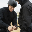 SWAT Team Preparing Climbing Equipment - Stock Photo