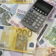 Calculator On Euro Notes — Stockfoto