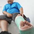 Boy With Leg In Plaster Cast — Stock Photo #21976105