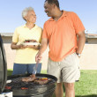 Happy Couple Barbecuing In Lawn - Stock Photo