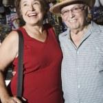Happy Senior Couple At Souvenir Shop — Stock Photo