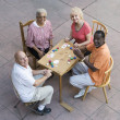Happy Senior Friends Playing Cards — Stock Photo #21978041