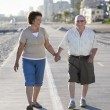 Stock Photo: Senior Couple On Footpath Along Beach