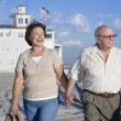 Stock Photo: Senior Couple Walking On Beach