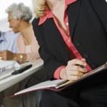 Financial Advisor Assisting Senior Couple — Stock Photo