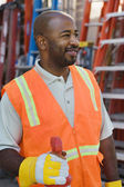 Construction Worker In Protective Workwear — Stock Photo