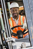 Industrial Worker Driving Forklift At Workplace — Stock Photo