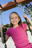 Young Girl Swaying On A Swing — Stock Photo