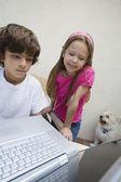 Little Kids Using Laptop — Stock Photo