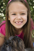 Girl With Pet Dog — Stock Photo