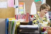 Teacher Working At Desk — Stock Photo