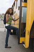 Teenage Girl Boarding School Bus — Stock Photo