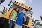 Teenagers By School Bus — Stock Photo