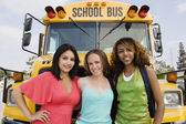 Teenage Girls By School Bus — Stock Photo