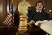 Judge Using Gavel In Court — Stock Photo