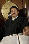 Pensive Judge In Courtroom — Stock Photo