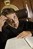 Mature Female Judge In A Deep Thought — Stock Photo