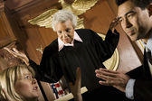 Couple Arguing In Front Of Judge — Stock Photo