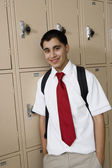 High School Boy Standing by Lockers — Stockfoto