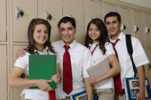High School Students Beside School Lockers — Stock Photo